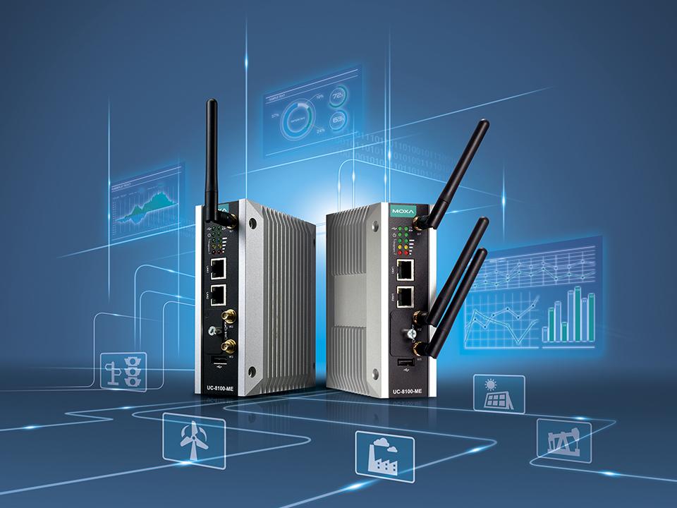 Bild på 2 supersnygga gateways med antenner som kan användas att koppla samman IT och OT, vara konverterare mellan protokoll eller övervaka ITS, varför inte som fog computing i ett energieffektiviseringsprojekt