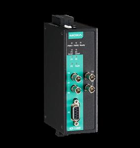 Bild på svart och Moxagrön ICF-1280i industrial Profibus till fiberkonverterare