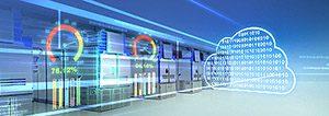 Futuristisk bild på datahall, ett och nollor som finns inne i ett moln och beräkningssymboler för dataflöde. För att illustrera IIoT lösningar