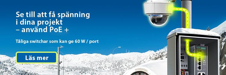 Bild på Moxas snygga PoE switch utanför en snöklädd tunnel i kallt vinterlandskap, det går att få 60W till var fältutrustning via datakablar