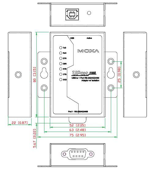 UPort 1150_1150I_Dimensions