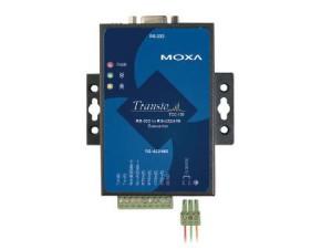 TCC-100 en blå Industriell omvandlare för serie till seriekommunikation från Moxa