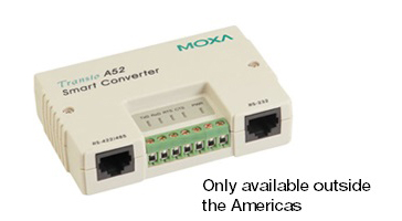 Den vita lilla Transio A52 gränssnittsomvandlare RS232 till RS422 eller RS485 från Moxa