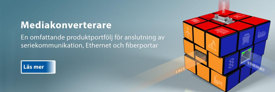 Bild på kub i 3 färger med DSub-, FX-fiber och RJ45 kontakter för att symbolisera Moxas industriella mediakonverterares alla möjligheter.