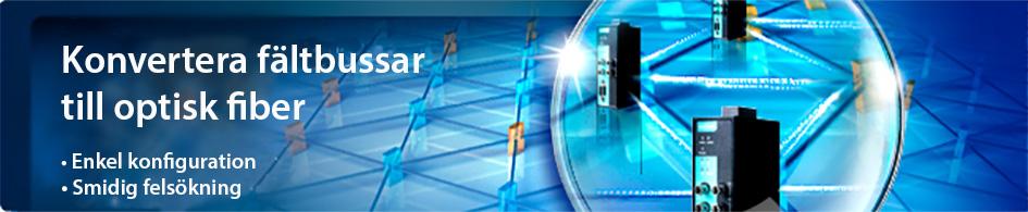 Bild på fältbuss till fiiberkonverterare i ett blått nätverk med texten enkel konfiguration och smidig felsökning. Funkar både i ring och traditionell punkt till punkt förbindelse