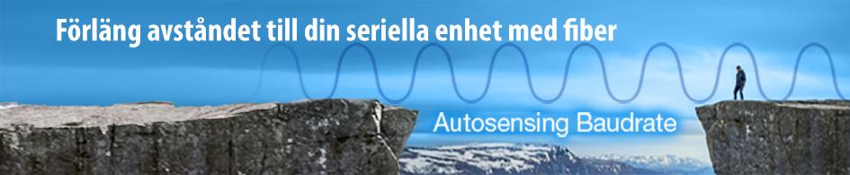Bild som ska symbolisera autosense Baudrate med Moxas konverterare för seriekommunikation över fiber