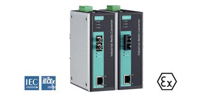 Bild på 2 st IMC-101 koppar till fiberomvandlare för industriella applikationer har EX och IECEx certifikat