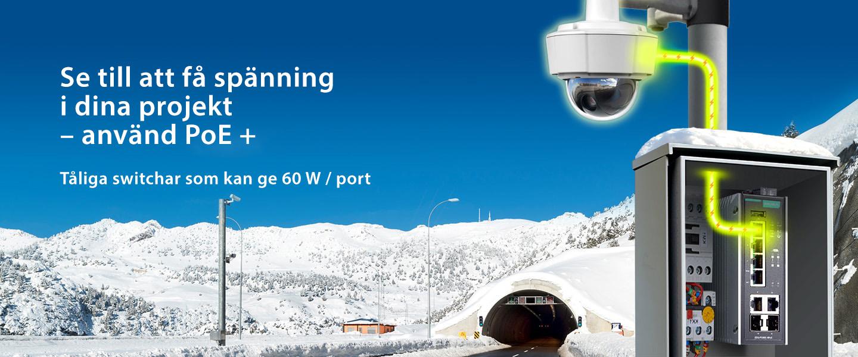 Bild på en vntrig vägtunnel och en Ethernet Switch som kan mata 60 W per port med PoE +