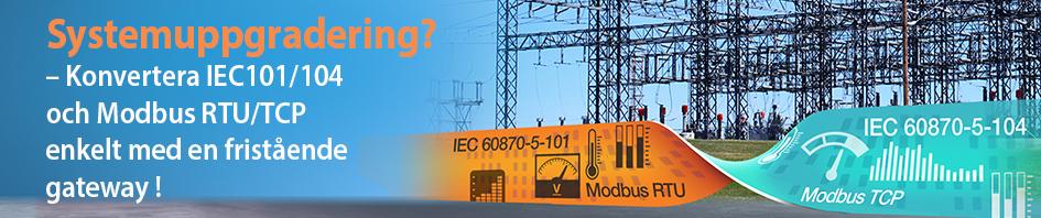 mGate 5114 konverterar mellan IEC 101 och 104 samt Modbus RTU och TCP