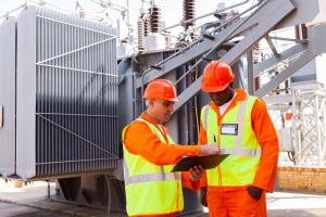 electrical engineers discussing work