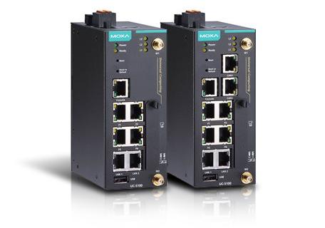 Moxas gateway för cellulär/mobil uppkoppling med WiFi möjligheter, en IIoT gateway nämligen uc-5100 arm-based