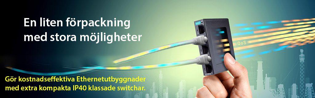 Moxas nya Kompakta IP40-klassad Ethernetswitch ca 8x2 cm