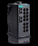 Moxas EDS-2016-ML tålig och kompakt 16 portar här med 2 st fiberanslutnigar. ST/SC kontakt