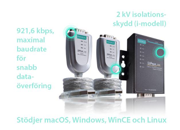 UPort 1000 *921,6 kbps som maximal hastighet för snabb överföring, 2 kV isolation (i-modell) Drivrutiner för macOS, Windows, WinCE och Linux