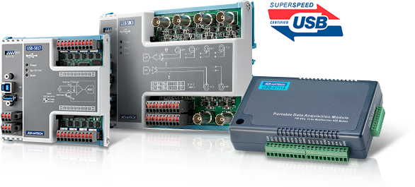 Advantech's USB DAQ Plug-and-Play modules, USB-5800/4700 series, are suitable for diverse industrial applications that require easy-to-install portable I/O capabilities